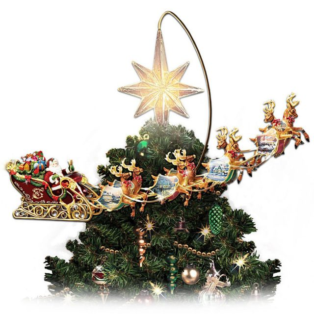Thomas Kinkade Animated Rotating Christmas Tree Topper